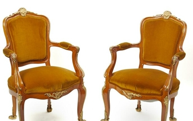 A pair of French Louis VII-style chairs