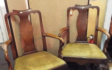 A pair of George II walnut carver chairs having vase shaped ...