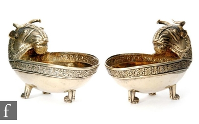 A pair of Scottish silver gilt open oval salts each terminat...