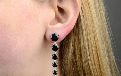 A pair of diamond and black gem rose earrings, by