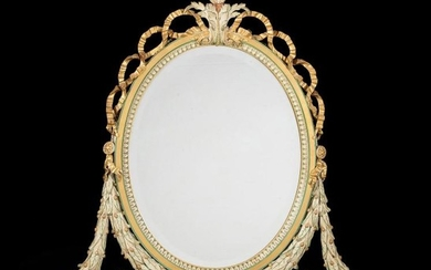 A pair of parcel gilt, green and cream painted composition mirrors, in George III style, late 19th century
