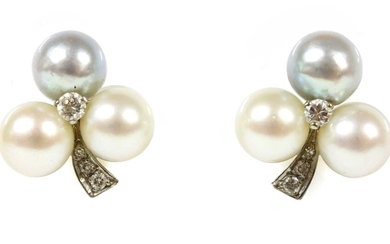 A pair of white gold cultured pearl and diamond earrings