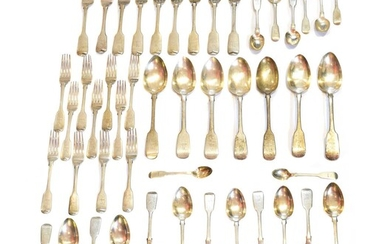 A selection of George IV and later silver flatware