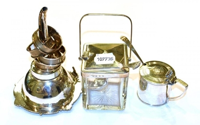 A silver and glass sugar jar, lift action lid, Goldsmiths...