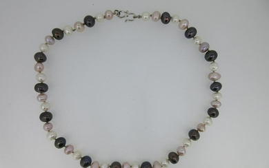 A three coloured cultured pearl necklace,