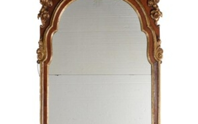A walnut and parcel gilt wall mirror, in George II style, 19th century