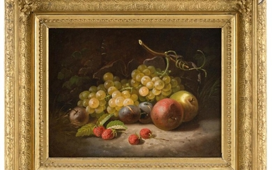 """AMERICAN SCHOOL, 19th Century, Still life of grapes, apples, plums and berries., Oil on canvas, 12"""" x 16"""". Framed 19.5"""" x 23.5""""."""
