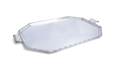 AN ART DECO SILVER TWO HANDLE TRAY, Sheffield...