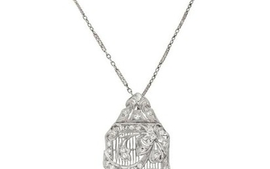 ART DECO, DIAMOND PENDANT BROOCH
