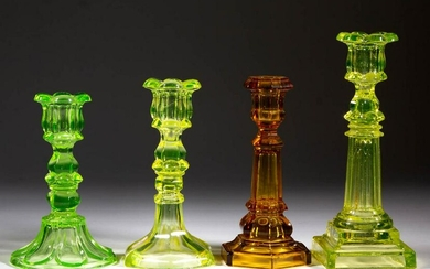 ASSORTED PRESSED GLASS CANDLESTICKS, LOT OF FOUR
