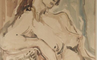 Aharon Avni (1906-1951) - Female Nude, Watercolor on Paper.