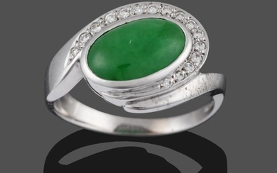 An 18 Carat White Gold Jade and Diamond Ring, an...