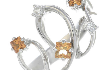 An 18ct gold brilliant-cut diamond and square-shape citrine dress ring.