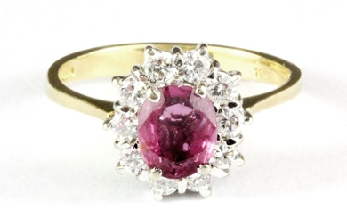 An 18ct yellow gold padparadscha sapphire and diamond set cluster ring, (O.5).