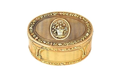An 18th century French three-colour gold oval snuff box