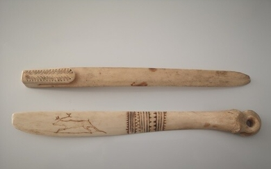 Two Abariginal Carved Bone tools. One engraved with a Reinde...