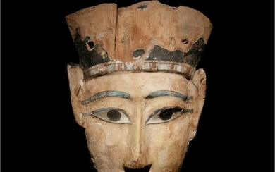 An Egyptian Painted Wood Mummy Mask Height 12 x width 8
