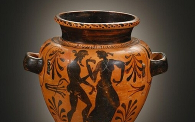 An Etruscan Black Figure Stamnos with Satyr and...