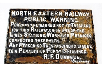 An early 20th century cast iron railway sign, circa 1910, of...