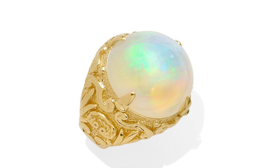 An opal cabochon ring