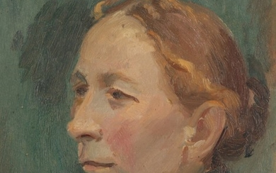 Anna Ancher: Portrait of a woman from Skagen in profile from the left. Signed and dated A. Ancher, 1908. Oil on cardboard. 23×19.5 cm.
