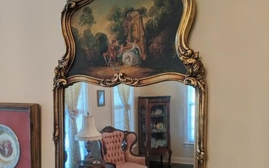 Antique Gold Leaf French Wall Mirror Handpainted Park