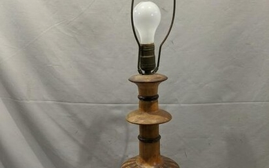 Antique Marquetry Inlaid Wood Table Lamp