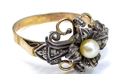 Antique Rose Cut Diamond 14k Gold and Pearl Ring