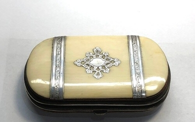 Antique silver mounted ivory purse fitted interior measures ...