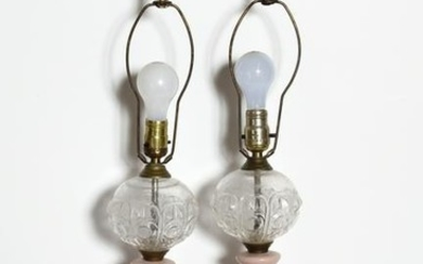 Antiques, Two Pink Lamps, Pair of Lamps with Molded