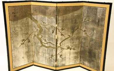 Asian Screen Metallic Painted Cherry Blossoms