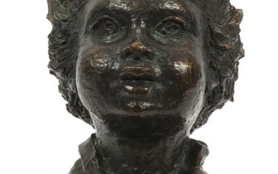 BETTY JACOBS USA BRONZE BUST OF CHILD ACTIVE C. 1960