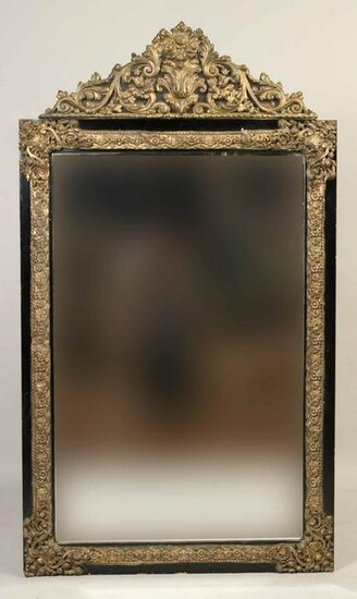 Brass Repousse and Ebonized Mirror