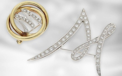 Brooch/pin: 2 high quality monogram brooches letter 'W'/'M' set with diamonds, 14K and 18K gold, handmade, 2,1ct diamonds!