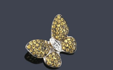 Butterfly pendant with yellow sapphires and diamonds
