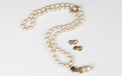 CHANEL FAUX PEARL AND GOLD-TONE NECKLACE (MISSING MIDDLE STRAND) AND...