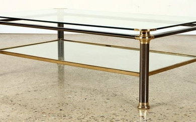 CHROME BRASS COFFEE TABLE GLASS TOP C.1980