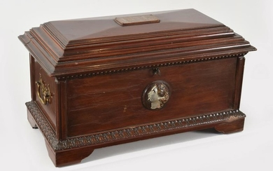 Ca. 1927 Mahogany Sarcophagus Form Jewelry Chest