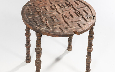 """Cast Iron """"Storm Drain"""" Hole Cover Table"""