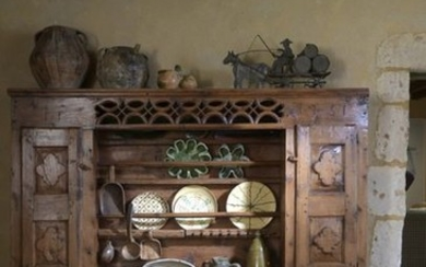 Cembro pine china cabinet consisting of a sideboard...
