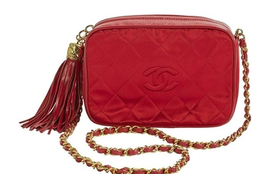 Chanel Small Red Satin and Kidskin Camera Bag