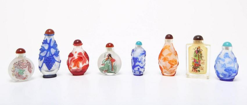 Chinese Glass & Reverse Painted Snuff Bottles