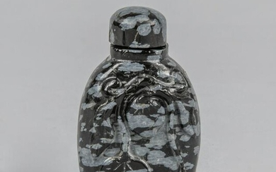 Chinese Snowflake Obsidian Snuff Bottle