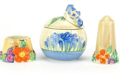 Clarice Cliff jam pot and cover together with a My