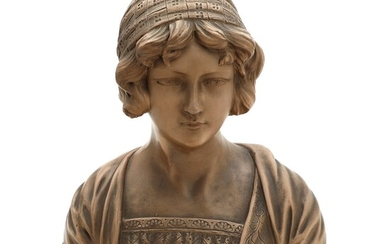 NOT SOLD. A 20th century paint plaster bust of a young woman. Marked Deposé 91....