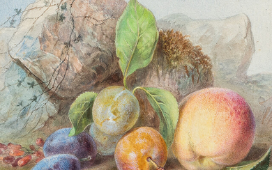 Continental School, 19th Century Two Still Lives with Fruit: Peaches and Plums
