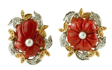 Coral, Pearls, White and Yellow Gold Vintage Flower