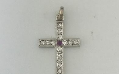 Cross pendant in white gold 750°/°°° set with...