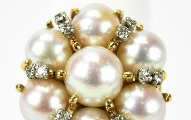 Cultured Pearl Cluster Diamond & 14kt Gold Ring