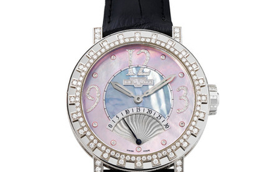 DeWitt. A Fine and Large Limited Edition White Gold and Diamond-Set Wristwatch with Retrograde Seconds and Mother-of Pearl Dial